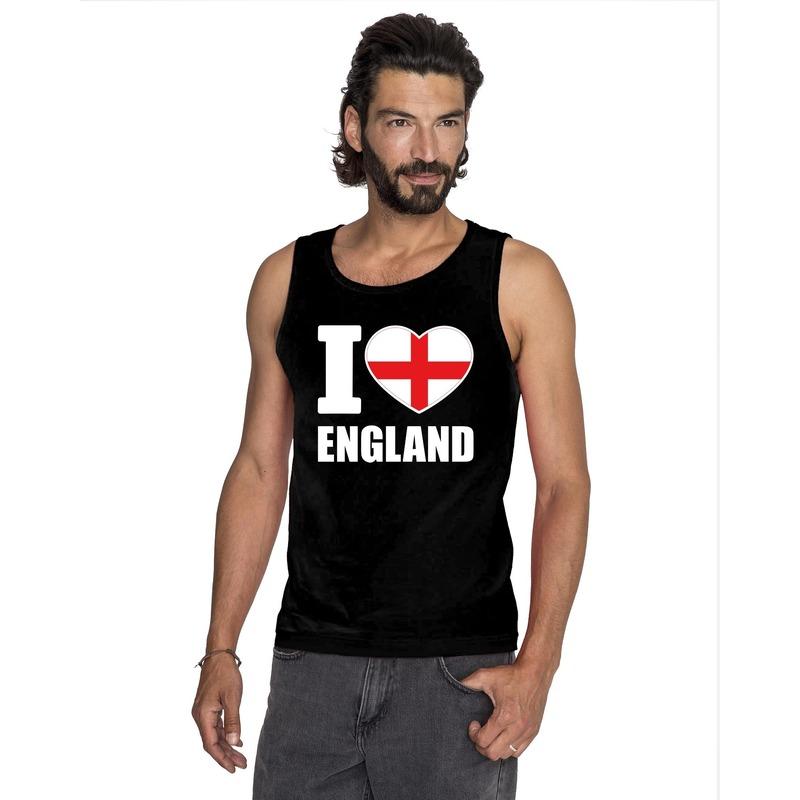 Zwart I love Engeland fan singlet shirt/ tanktop heren