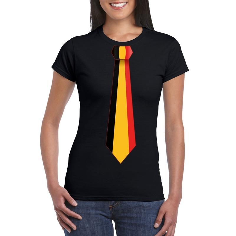 Zwart t-shirt met Belgie vlag stropdas dames
