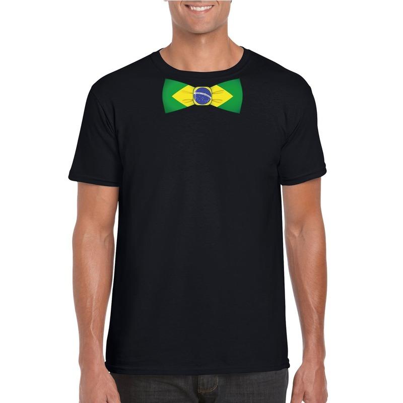 Zwart t-shirt met Brazilie vlag strikje heren