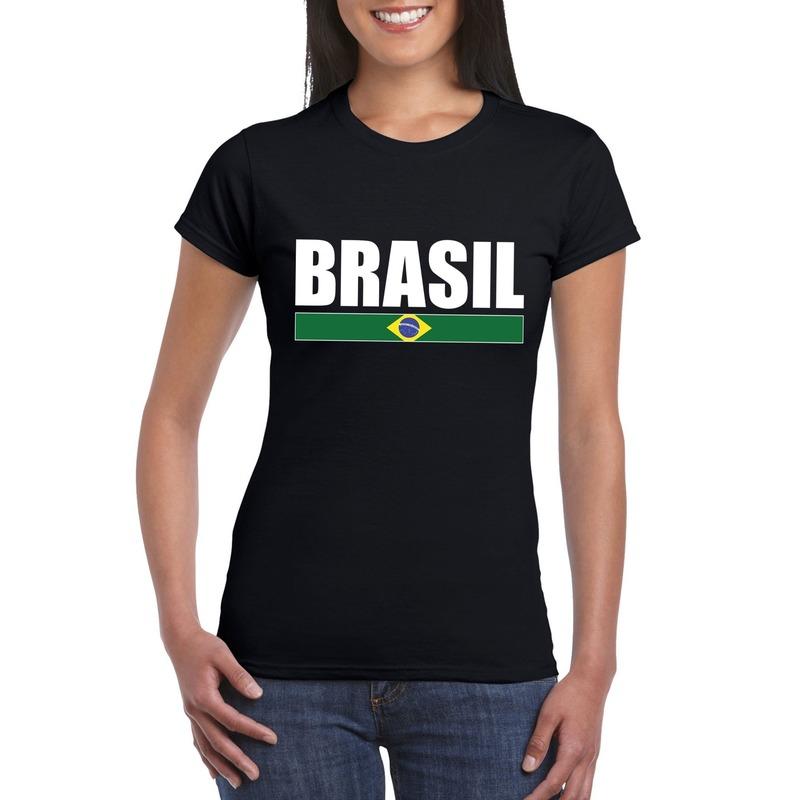 Zwart/ wit Brazilie supporter t-shirt voor dames